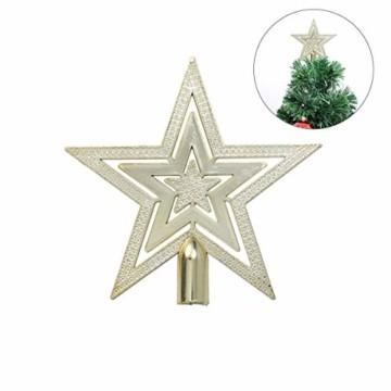 OUNONA Christbaumspitze Weihnachtsbaumschmuck Stern Partei Dekoration (Gold) - 1