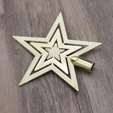 OUNONA Christbaumspitze Weihnachtsbaumschmuck Stern Partei Dekoration (Gold) - 3