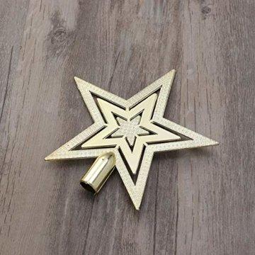 OUNONA Christbaumspitze Weihnachtsbaumschmuck Stern Partei Dekoration (Gold) - 4