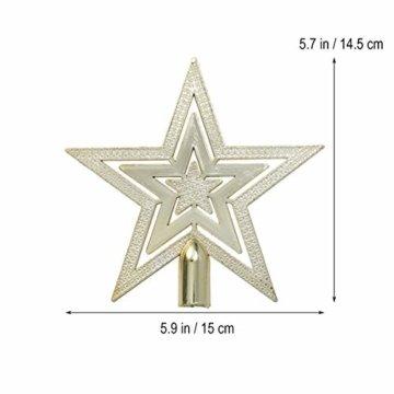 OUNONA Christbaumspitze Weihnachtsbaumschmuck Stern Partei Dekoration (Gold) - 5