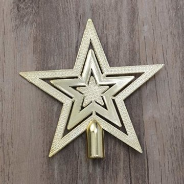 OUNONA Christbaumspitze Weihnachtsbaumschmuck Stern Partei Dekoration (Gold) - 7