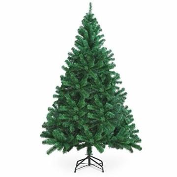 OUSFOT Weihnachtsbaum Künstlich 182cm (Ø ca. 110 cm) 800 Äste schwer entflammbarer Tannenbaum mit Schnellaufbau Klappsysem Material PVC inkl. Metallständer - 1