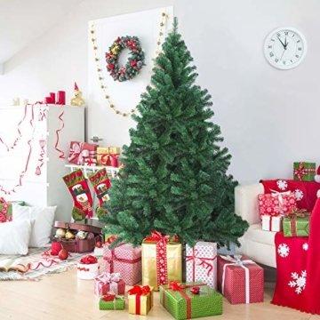 OUSFOT Weihnachtsbaum Künstlich 182cm (Ø ca. 110 cm) 800 Äste schwer entflammbarer Tannenbaum mit Schnellaufbau Klappsysem Material PVC inkl. Metallständer - 5