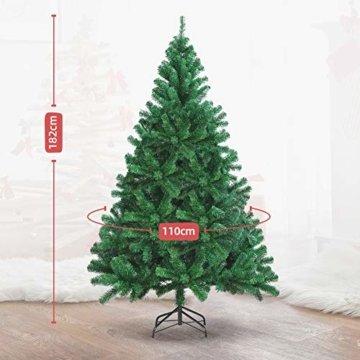 OUSFOT Weihnachtsbaum Künstlich 182cm (Ø ca. 110 cm) 800 Äste schwer entflammbarer Tannenbaum mit Schnellaufbau Klappsysem Material PVC inkl. Metallständer - 6