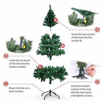 OUSFOT Weihnachtsbaum Künstlich 182cm (Ø ca. 110 cm) 800 Äste schwer entflammbarer Tannenbaum mit Schnellaufbau Klappsysem Material PVC inkl. Metallständer - 7