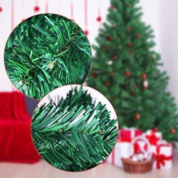 OUSFOT Weihnachtsbaum Künstlich 182cm (Ø ca. 110 cm) 800 Äste schwer entflammbarer Tannenbaum mit Schnellaufbau Klappsysem Material PVC inkl. Metallständer - 9