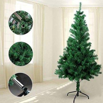 OZAVO Weihnachtsbaum künstlicher, Tannenbaum 120 cm, Christbaum in grün, inkl. Metallständer, schwer entflammbar - 2