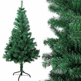OZAVO Weihnachtsbaum künstlicher, Tannenbaum 120 cm, Christbaum in grün, inkl. Metallständer, schwer entflammbar - 1