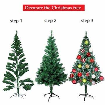 OZAVO Weihnachtsbaum künstlicher, Tannenbaum 120 cm, Christbaum in grün, inkl. Metallständer, schwer entflammbar - 6