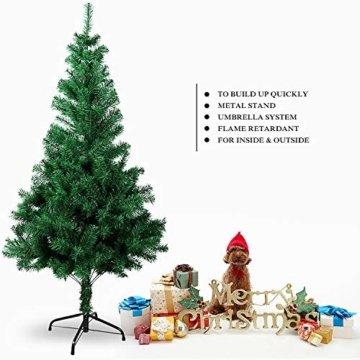 OZAVO Weihnachtsbaum künstlicher, Tannenbaum 120 cm, Christbaum in grün, inkl. Metallständer, schwer entflammbar - 7
