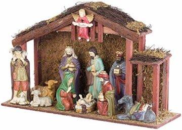 PEARL LED Weihnachts Krippen: Große Weihnachtskrippe mit 11 Porzellan-Figuren, LED-Beleuchtung (Weihnachtskrippe beleuchtet) - 3
