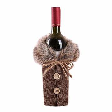 Petalum Weihnachten deko weinrot Weinflasche Flaschenanzug Flaschenüberzug Weihnachtmann Hut Flaschebeutel Flaschetasche Party Restaurant Tischdeko (2PCS, B) - 3