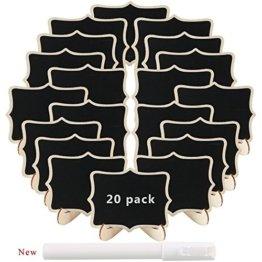 Pulluo 20pcs Mini Tafeln Set Tischkarten Hochzeit Tischschilder Kreidetafel mit Ständer Platzkarten Namen Büffet Schilder für Hochzeit Geburtstag Deko Party Tischdeko - 1