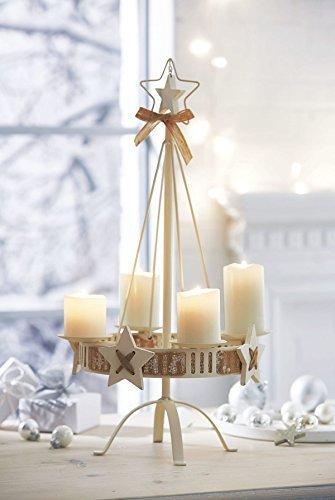 Pureday Adventskranz - Kerzenständer White Christmas - Metall - Weiß - Höhe ca. 57 cm - 2