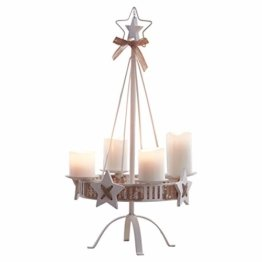 Pureday Adventskranz - Kerzenständer White Christmas - Metall - Weiß - Höhe ca. 57 cm - 1
