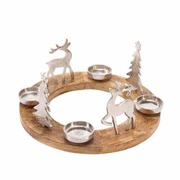 Pureday Weihnachtsdeko - Adventskranz Rentiere - Holz Metall - Braun Silber - ca. Ø 40 cm - 3