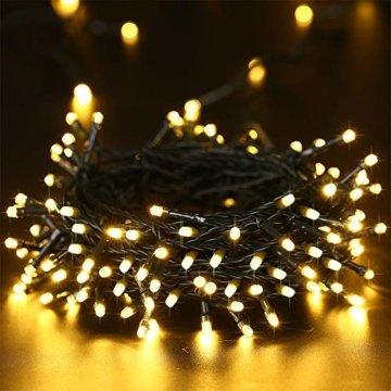 Qedertek Solar Lichterkette Weihnachtsbeleuchtung außen, 20M 200 LED Solar Lichterkette Aussen Wasserdichte, 8 Modi Solar Weihnachtsbaum Lichterkette Deko für Garten, Terrasse, Hochzeit (Warmweiß) - 3