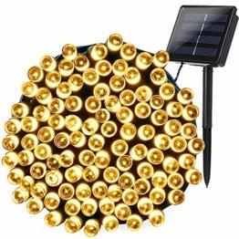 Qedertek Solar Lichterkette Weihnachtsbeleuchtung außen, 20M 200 LED Solar Lichterkette Aussen Wasserdichte, 8 Modi Solar Weihnachtsbaum Lichterkette Deko für Garten, Terrasse, Hochzeit (Warmweiß) - 1