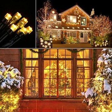 Qedertek Solar Lichterkette Weihnachtsbeleuchtung außen, 20M 200 LED Solar Lichterkette Aussen Wasserdichte, 8 Modi Solar Weihnachtsbaum Lichterkette Deko für Garten, Terrasse, Hochzeit (Warmweiß) - 4