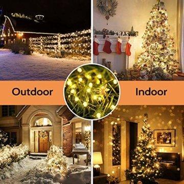 Qedertek Solar Lichterkette Weihnachtsbeleuchtung außen, 20M 200 LED Solar Lichterkette Aussen Wasserdichte, 8 Modi Solar Weihnachtsbaum Lichterkette Deko für Garten, Terrasse, Hochzeit (Warmweiß) - 5