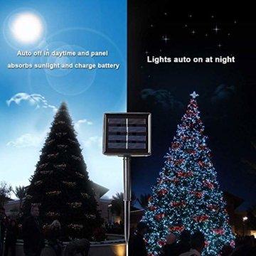 Qedertek Solar Lichterkette Weihnachtsbeleuchtung außen, 20M 200 LED Solar Lichterkette Aussen Wasserdichte, 8 Modi Solar Weihnachtsbaum Lichterkette Deko für Garten, Terrasse, Hochzeit (Warmweiß) - 6
