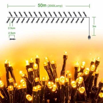 Quntis 2000LEDs 50M Lichterkette Warmweiß, Innen- und Außenbeleuchtung Strombetrieben, 8 Modi, Dekolicht für Weihnachten Garten Baum Zimmer Terrasse Balkon Fenster Club - 3