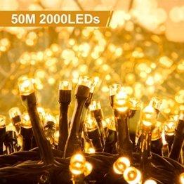 Quntis 2000LEDs 50M Lichterkette Warmweiß, Innen- und Außenbeleuchtung Strombetrieben, 8 Modi, Dekolicht für Weihnachten Garten Baum Zimmer Terrasse Balkon Fenster Club - 1