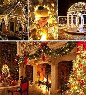 Quntis 2000LEDs 50M Lichterkette Warmweiß, Innen- und Außenbeleuchtung Strombetrieben, 8 Modi, Dekolicht für Weihnachten Garten Baum Zimmer Terrasse Balkon Fenster Club - 4