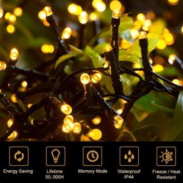 Quntis 2000LEDs 50M Lichterkette Warmweiß, Innen- und Außenbeleuchtung Strombetrieben, 8 Modi, Dekolicht für Weihnachten Garten Baum Zimmer Terrasse Balkon Fenster Club - 6