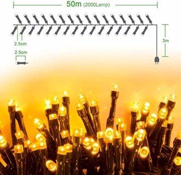 Quntis 2000LEDs 50M Lichterkette Warmweiß, Innen- und Außenbeleuchtung Strombetrieben, 8 Modi, Dekolicht für Weihnachten Garten Baum Zimmer Terrasse Balkon Fenster Club - 7