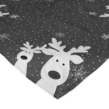 Raebel Tischläufer 40 x 140 cm Stickerei lustiger Elch dunkelgrau-bunt Weihnachten Weihnachtsdeko Weihnachtstischdecke Mitteldecke Tischdeko Tischdecke - 2