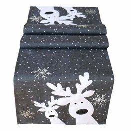 Raebel Tischläufer 40 x 140 cm Stickerei lustiger Elch dunkelgrau-bunt Weihnachten Weihnachtsdeko Weihnachtstischdecke Mitteldecke Tischdeko Tischdecke - 1