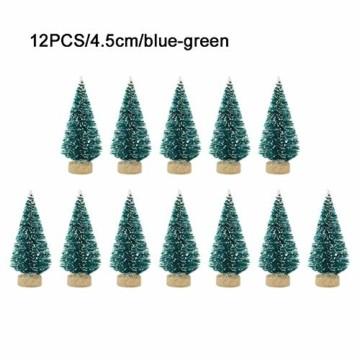 ranninao 12 Stück Weihnachtsbaum Künstlich Klein Deko Künstlicher Weihnachtsbaum Naturgetreuer Christbaum Für Tischdeko, DIY, Schaufenster (3,5 X 4,5 X 6,5 cm) - Mehrere Farben Erhältlich - 1