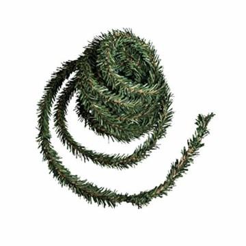 Rayher 55872000 Mini-Tannengirlande auf Draht, Beutel 3 m, Breite 2 cm, künstliche Weihnachtsgirlande zum Basteln und Dekorationen - 1