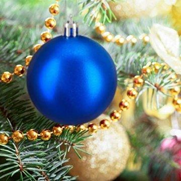 Relaxdays Weihnachtskugeln, 100er Set, Weihnachtsdeko, matt, glänzend, glitzernd, Christbaumkugel ∅ 3, 4 & 6 cm, blau, PS, 7 x 6 x 6 cm - 4