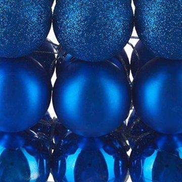 Relaxdays Weihnachtskugeln, 100er Set, Weihnachtsdeko, matt, glänzend, glitzernd, Christbaumkugel ∅ 3, 4 & 6 cm, blau, PS, 7 x 6 x 6 cm - 5