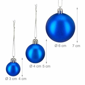 Relaxdays Weihnachtskugeln, 100er Set, Weihnachtsdeko, matt, glänzend, glitzernd, Christbaumkugel ∅ 3, 4 & 6 cm, blau, PS, 7 x 6 x 6 cm - 6
