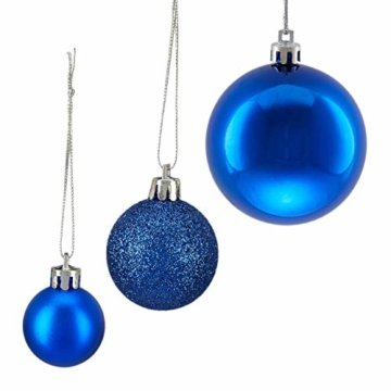 Relaxdays Weihnachtskugeln, 100er Set, Weihnachtsdeko, matt, glänzend, glitzernd, Christbaumkugel ∅ 3, 4 & 6 cm, blau, PS, 7 x 6 x 6 cm - 7