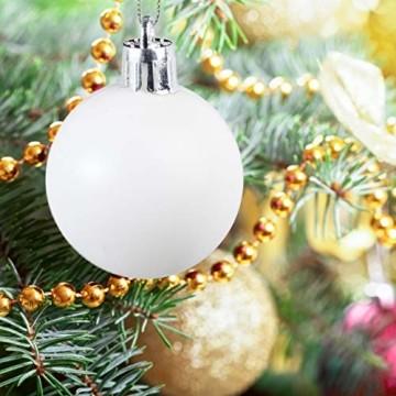 Relaxdays Weihnachtskugeln, 100er Set, Weihnachtsdeko, matt, glänzend, glitzernd, Christbaumkugel ∅ 3, 4 & 6 cm, weiß - 3
