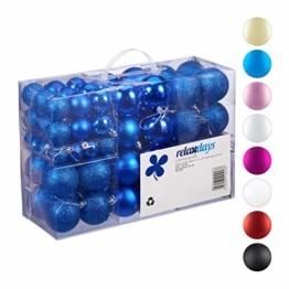 Relaxdays Weihnachtskugeln, 100er Set, Weihnachtsdeko, matt, glänzend, glitzernd, Christbaumkugel ∅ 3, 4 & 6 cm, blau, PS, 7 x 6 x 6 cm - 1