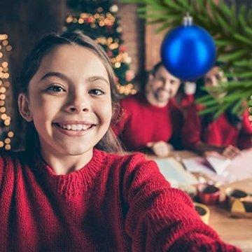 Relaxdays Weihnachtskugeln, 100er Set, Weihnachtsdeko, matt, glänzend, glitzernd, Christbaumkugel ∅ 3, 4 & 6 cm, blau, PS, 7 x 6 x 6 cm - 3