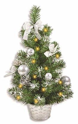 Riffelmacher Geschmückter Weihnachtsbaum beleuchtet 50cm 20258 - Silber - Weihnachtsbaum mit Lichterkette Schleifen Christbaumkugeln - 1