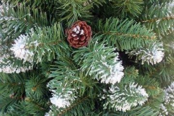 RS Trade HXT 15013 künstlicher Weihnachtsbaum 120 cm mit Schnee und Zapfen (Ø ca. 78 cm) ca. 500 Spitzen, schwer entflammbarer Tannenbaum mit Schnellaufbau Klappsystem, inkl. Christbaum Ständer - 5