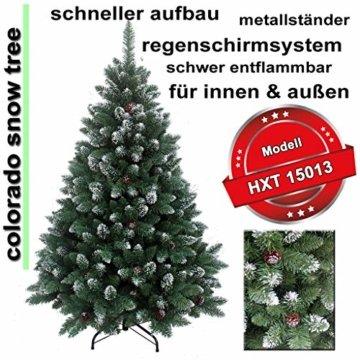 RS Trade HXT 15013 künstlicher Weihnachtsbaum 210 cm mit Schnee und Zapfen (Ø ca. 135 cm) ca. 1400 Spitzen, schwer entflammbarer Tannenbaum mit Schnellaufbau Klappsystem, inkl. Christbaum Ständer - 3
