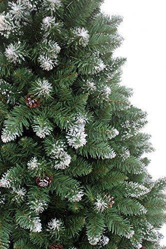RS Trade HXT 15013 künstlicher Weihnachtsbaum 210 cm mit Schnee und Zapfen (Ø ca. 135 cm) ca. 1400 Spitzen, schwer entflammbarer Tannenbaum mit Schnellaufbau Klappsystem, inkl. Christbaum Ständer - 4