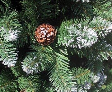 RS Trade HXT 15013 künstlicher Weihnachtsbaum 210 cm mit Schnee und Zapfen (Ø ca. 135 cm) ca. 1400 Spitzen, schwer entflammbarer Tannenbaum mit Schnellaufbau Klappsystem, inkl. Christbaum Ständer - 6