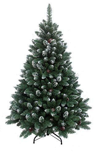 RS Trade HXT 15013 künstlicher Weihnachtsbaum 210 cm mit Schnee und Zapfen (Ø ca. 135 cm) ca. 1400 Spitzen, schwer entflammbarer Tannenbaum mit Schnellaufbau Klappsystem, inkl. Christbaum Ständer - 1