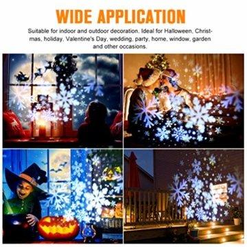 RUNACC Snowflake LED Projector Projektorlampe Außen Projektor Weihnachten Outdoor Snowflake Rotating Projector Snowflake Projektor Wasserdichte Weihnachten Licht Projektor für Outdoor und Innen Deko - 5