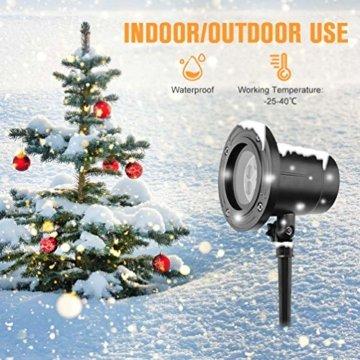 RUNACC Snowflake LED Projector Projektorlampe Außen Projektor Weihnachten Outdoor Snowflake Rotating Projector Snowflake Projektor Wasserdichte Weihnachten Licht Projektor für Outdoor und Innen Deko - 6