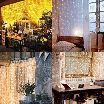 SALCAR LED Lichtervorhang 3x3m IP44 Vorhang Lichterkette, Lichtervorhang für Weihnachten, Partydekoration, Innenbeleuchtung, 8 Lichtprogramme (warmweiß) - 4